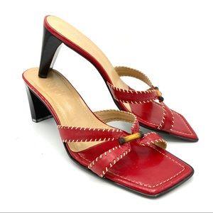 Y2k Franco Sarto maroon heeled mules